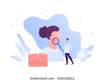Dermatology and skin health care concept. Vector flat modern illustration. Dermatologist doctor male character hold magnifier glass on female patient head. Acne, cancer, allergy diagnosis symbol.