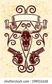 Derringer guns on grunge background