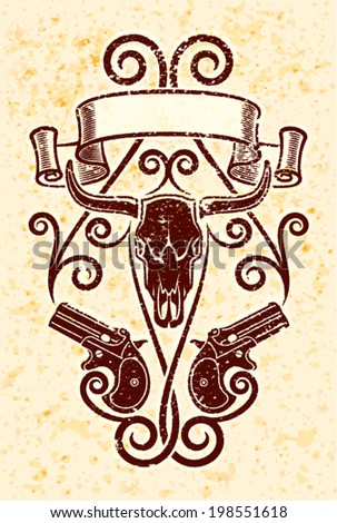 Derringer guns on grunge background