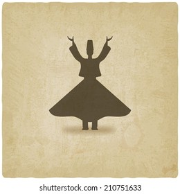 dervish dancer old background - vector illustration. eps 10