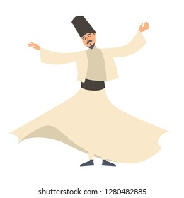 Dervish dancer vector illustration. Turkish man cartoon style character, isolated on white