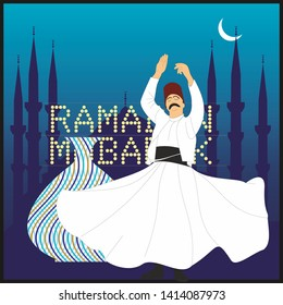 Dervish and ramadan. Symbolic study of Mevlevi mystical dance.  It can be used as wall board, banner, wallpaper, gift card or book separator.