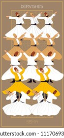Dervish, Symbolic study of Mevlevi mystical dance. This painting represents a movement of this dance. It can be used as wall board, banner, gift card or book separator. Using other figures in the seri