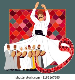 Dervish. Symbolic study of Mevlevi mystical dance. This painting represents a movement of this dance. It can be used as wall board, banner, gift card or book separator.