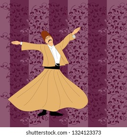 Dervish. Symbolic study of Mevlevi mystical dance. This painting represents a movement of this dance. It can be used as wall board, banner, wallpaper, gift card or book separator.