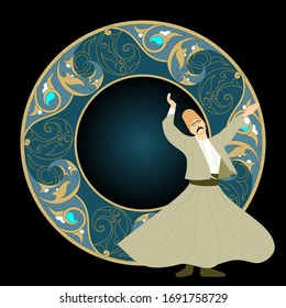 Dervish vector poster. Symbolic study of Mevlevi mystical dance. This painting represents a movement of this dance. It can be used as wall board, banner, gift card.