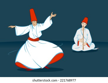 A dervish is whirling and a sufi is making music with reed flute.