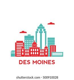 Des Moines city architecture retro vector illustration, skyline city silhouette, skyscraper, flat design