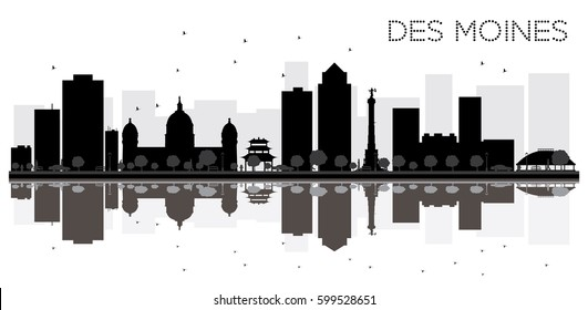 Des Moines City skyline black and white silhouette with reflections. Vector illustration. Simple flat concept for tourism presentation, banner, placard or web site. Cityscape with landmarks