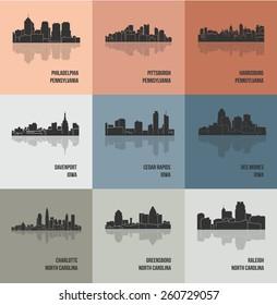 Des Moines, Harrisburg, Raleigh, Davenport, Charlotte, Pittsburgh, Cedar Rapids, Greensboro, Philadelphia (Set of 9 City silhouette)