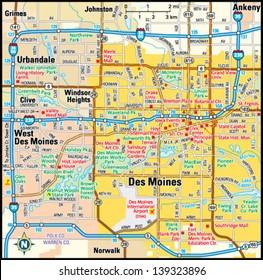 Des Moines, Iowa area map