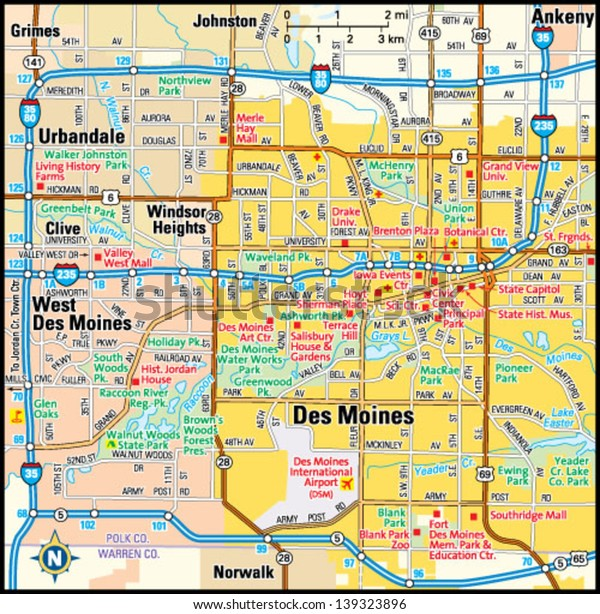 Des Moines Iowa Area Map Stock Vector (Royalty Free) 139323896