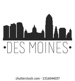 Des Moines Iowa. City Skyline. Silhouette City. Design Vector. Famous Monuments.