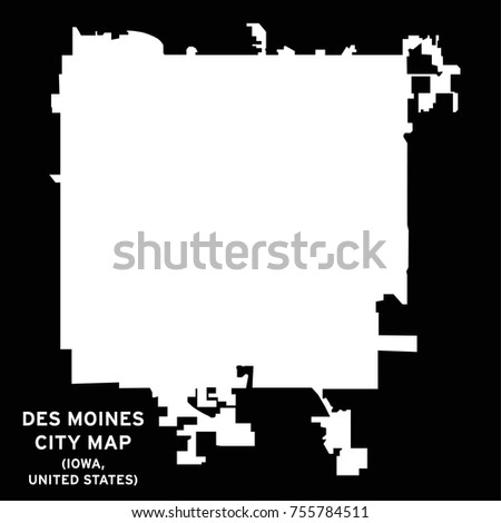 Des Moines Iowa USA City Map Stock Vector (Royalty Free) 755784511 on