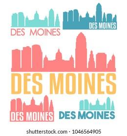 Des Moines Iowa USA Flat Icon Skyline Vector Silhouette Design Set