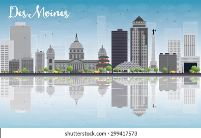 Des Moines Skyline with Grey Buildings, Blue Sky and reflections. Vector Illustration. Business travel and tourism concept with place for text. Image for presentation, banner, placard and web site.