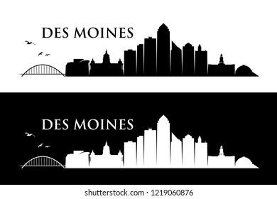 Des Moines skyline - Iowa, United States of America, USA - vector illustration