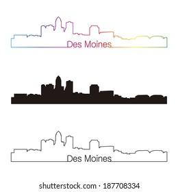 Des Moines skyline linear style with rainbow in editable vector file