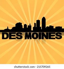 Des Moines skyline reflected with sunburst vector illustration