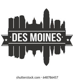 Des Moines Skyline Silhouette Design City Vector Art