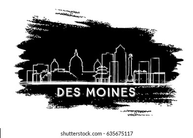Des Moines Skyline Silhouette. Hand Drawn Sketch. Business Travel and Tourism Concept with Historic Architecture. Image for Presentation Banner Placard and Web Site. Vector Illustration.