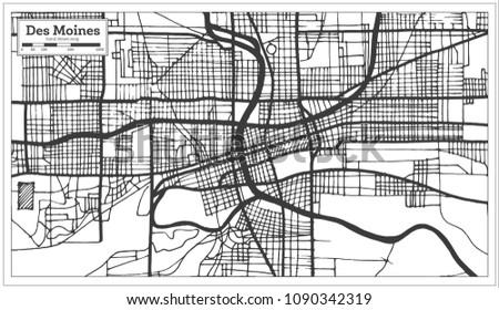 Des Moines USA City Map Retro Stock Vector (Royalty Free) 1090342319 on