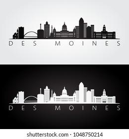 Des Moines USA skyline and landmarks silhouette, black and white design, vector illustration.