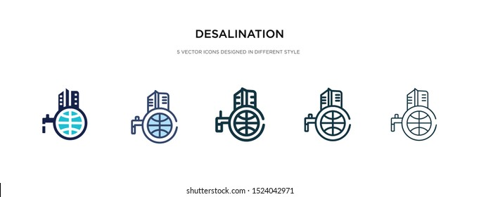 desalination icon in different style vector illustration. two colored and black desalination vector icons designed in filled, outline, line and stroke style can be used for web, mobile, ui