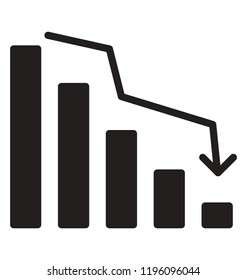 Descending analytic graph showing loss and business downfall