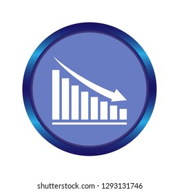 descending analytic graph showing loss and business downfall. data analytics descendant icon on white background. loss bar chart logo concept. chart with bars declining icon for your web site design