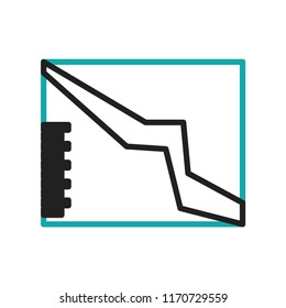 Descending data analytics line graphic icon vector isolated on white background for your web and mobile app design, Descending data analytics line graphic logo concept
