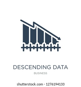 descending data analytics line graphic icon vector on white background, descending data analytics line graphic trendy filled icons from Business collection