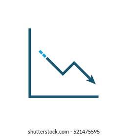 Descending data analytics line graphic icon
