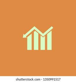 descending graph vector icon. flat design