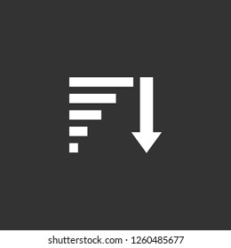 Descending Sorting icon vector. Descending Sorting sign on black background. Descending Sorting icon for web and app