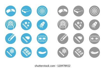 Description icons of glasses (gray blue)