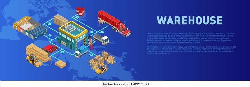 Description of warehouse work near isometric structure over world map