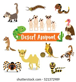 Desert Animals cartoon on white background.