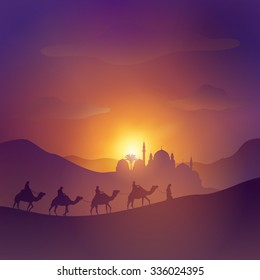 Desert arabic landscape with mosque arabian and camel for islamic banner background
