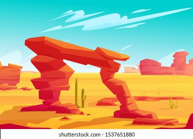 Desert arch on natural background of hot desert landscape with yellow sand, red mountains, blue sky with light clouds and green cacti, wilderness banner