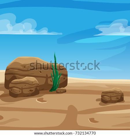 Desert Background Cartoon Game Poster Travel Stock Vector Royalty