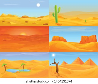 Desert banner set. Cartoon illustration of desert vector banner set for web design