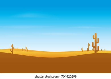 Desert with cactus and blue sky. Vector illustration of landscape background