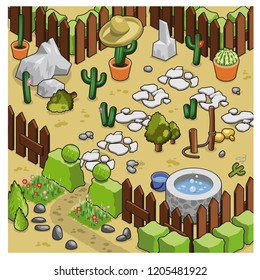 Desert cactus garden decorated with stones, trails and well, surrounded by fence and hedge (isometric illustration)