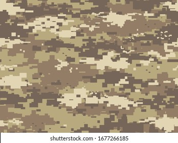 Desert camouflage of pixels.Modern military camo.Print on fabric, on paper.Vector