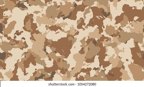 Desert camouflage seamless pattern. Vector military texture, beige camo clothing while hunting illustration. Khaki design style for t-shirt.