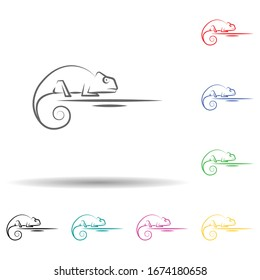 Desert, chameleon, animal multi color set icon. Simple thin line, outline vector of desert icons for ui and ux, website or mobile application