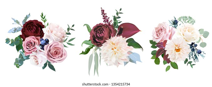 Desert cinnamon, brown, dusty pink and creamy roses, dahlia, burgundy anthurium flowers, juniper, eucalyptus, greenery, astilbe vector design wedding bouquets. All elements are isolated and editable
