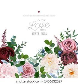 Desert cinnamon, brown, dusty pink roses, dahlia, burgundy flowers, juniper, eucalyptus, greenery, astilbe, hydrangea design wedding frame.Fall boho vector.Elements are isolated and editable