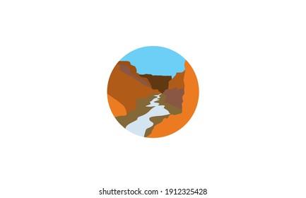desert cliffs with river landscape logo vector icon symbol graphic design illustration